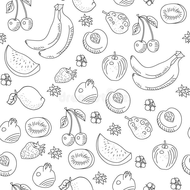 Wzór doodle owoc royalty ilustracja