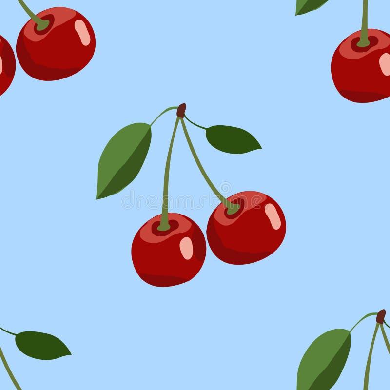Wzór duża czerwona wiśnia z liśćmi na błękitnym tle zdjęcia stock