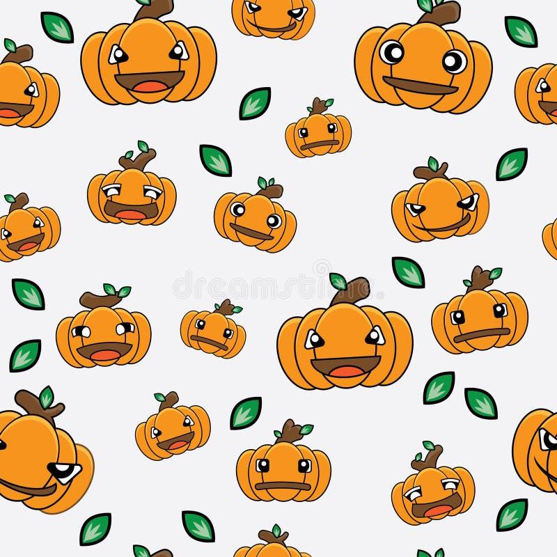 Wzór dyni rysunkowej bez szwanku dla motywu halloweena ilustracja wektor