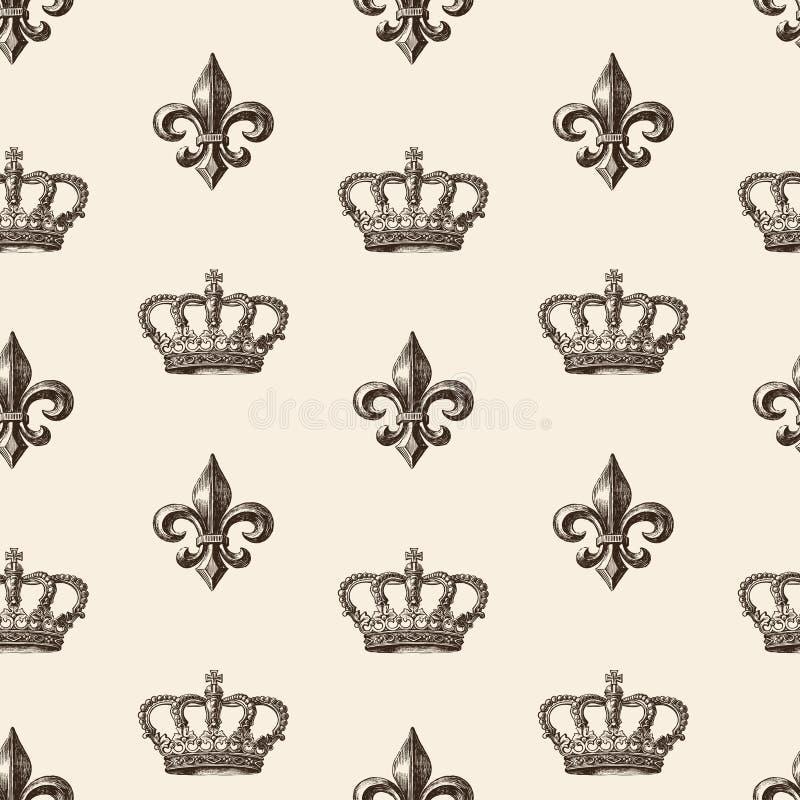Wzór francuz leluja i korona royalty ilustracja