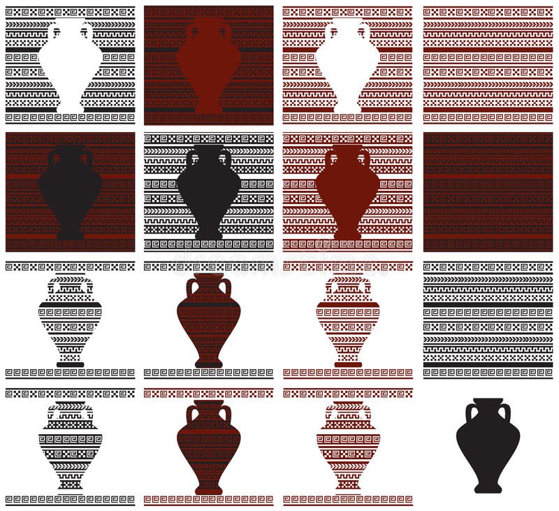 Wzór Grecki ornament i waza royalty ilustracja