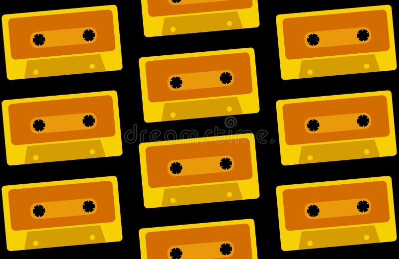 Wzór jest bezszwowy od starego, rocznik, retro, modniś, antyk, kolor żółty, złociste audio kasety od 80 s `, 90 s na czerni ` royalty ilustracja