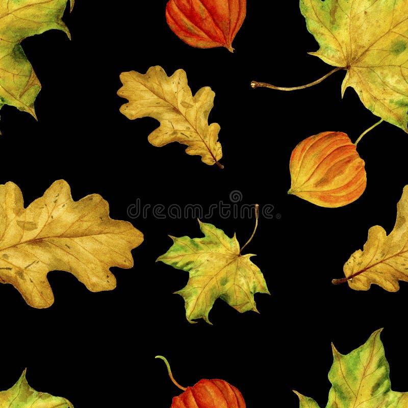 Wzór jest bezszwowy z jesień liśćmi Akwarela handmade liście royalty ilustracja