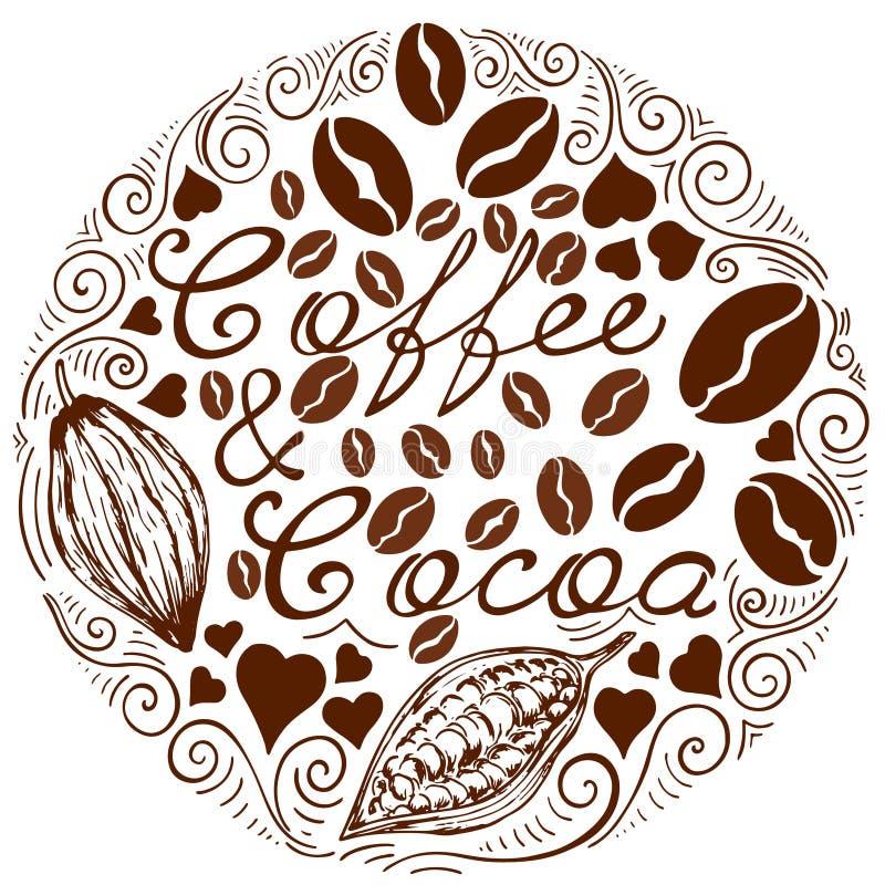 Wzór kawa i kakao royalty ilustracja