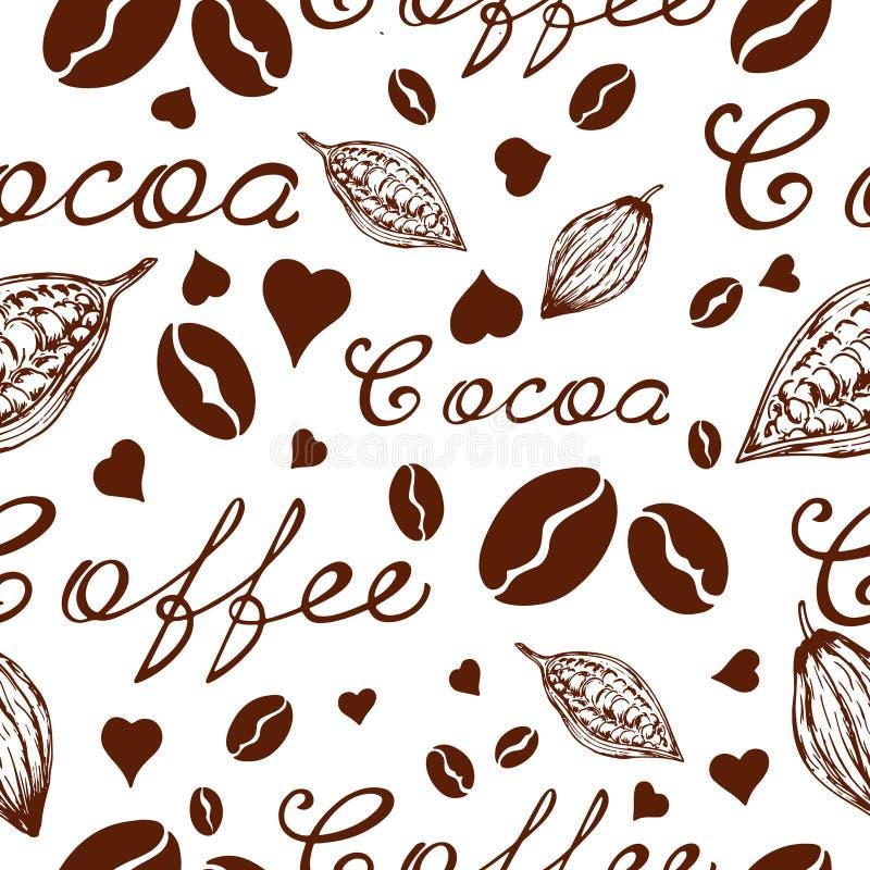 Wzór kawa i kakao ilustracja wektor