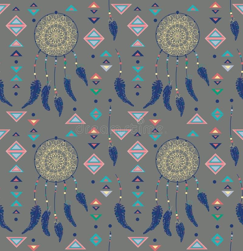 Wzór kolorów indianów Amerykański dreamcatcher royalty ilustracja