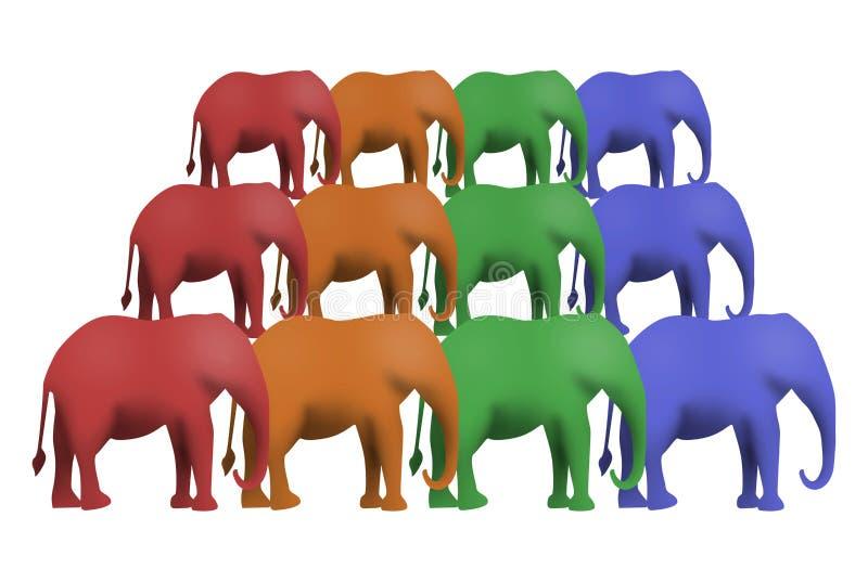 Wzór kolorowi słonie na białym tle ilustracja wektor