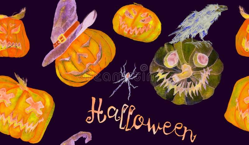 Wzór kolorystyczny na Halloween, dynia, kapelusze czarownic, pająki, wrony, miotły, ręka pomalowana na czarno ilustracja wektor