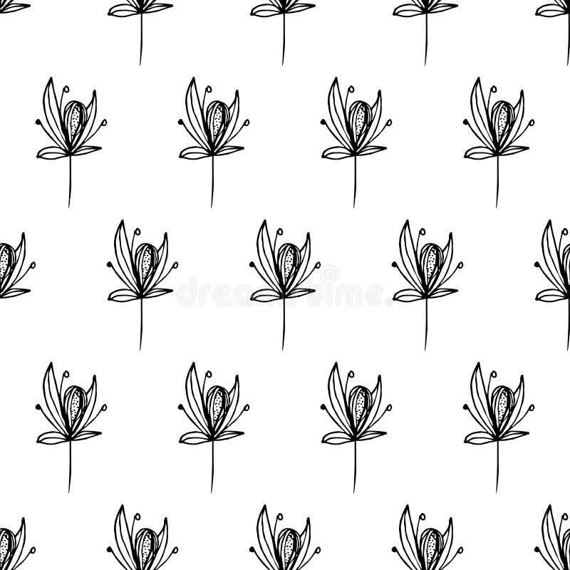 Wzór kwitnie w liniach, czerni linie ilustracja wektor