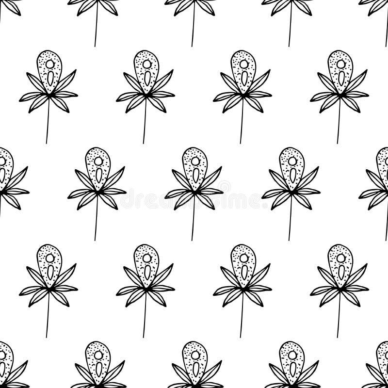 Wzór kwitnie z kropkami, czerni linie ilustracji