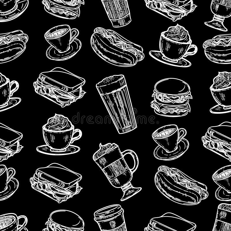 Wzór latte, cappuccino, hamburger, hamburger, hotdog, frappe, kawy espresso americano i americano w filiżance dla, bierzemy dalek royalty ilustracja