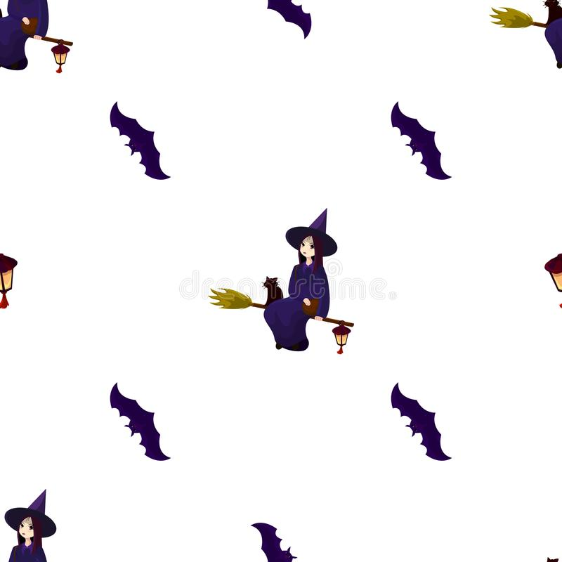 Wzór na temacie Halloween z uroczymi czarownicami, magicy ilustracja wektor