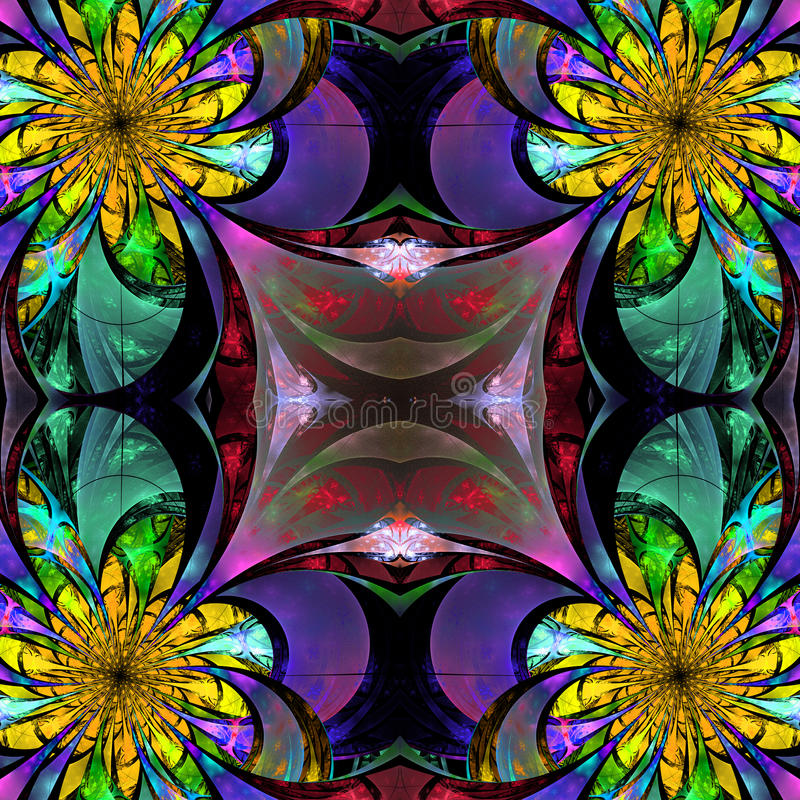 Wzór od fractal kwiatów Błękita, zielonej i brown paleta, Fra ilustracji