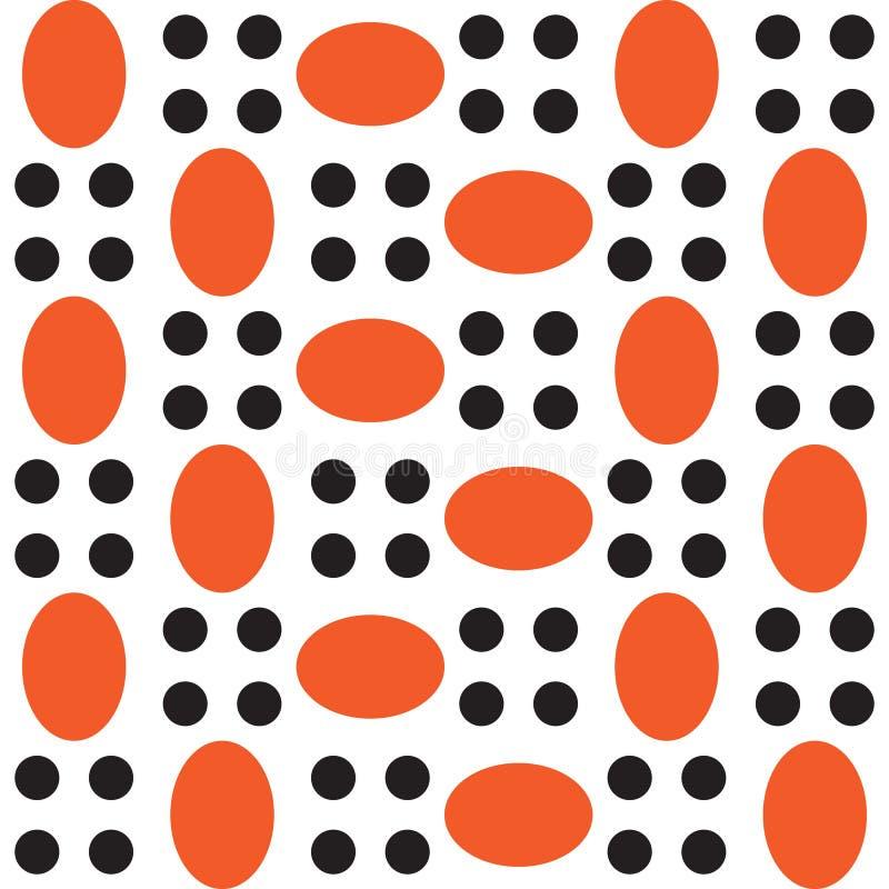 Wzór pomarańczowi owale i czerń okręgi royalty ilustracja