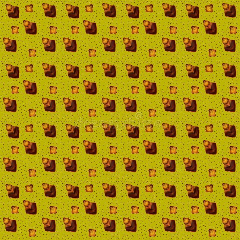 Wzór prości żółci fantastyczni kwiaty, liście i mali lampasy, - kije ilustracji