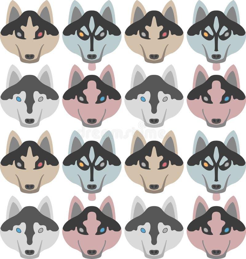 Wzór psy z kościami i łapami Bezszwowy Haski, labrador, chihuahua, mops, Dalmatyński royalty ilustracja
