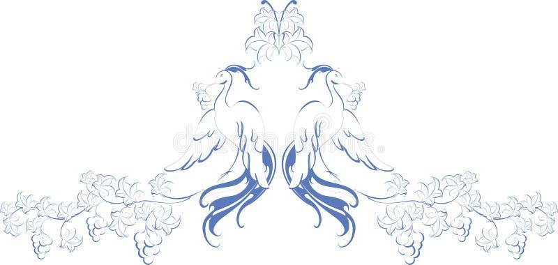 wzór Ptaki raj z winogradem Eps10 Wektor royalty ilustracja