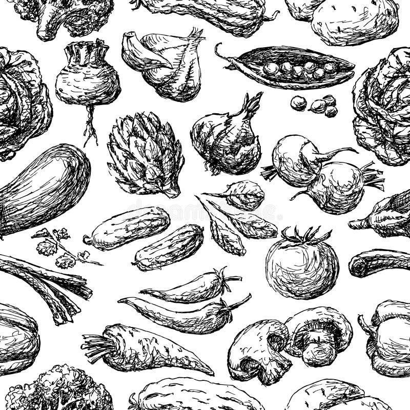 Wzór różnorodni rysujący warzywa ilustracji