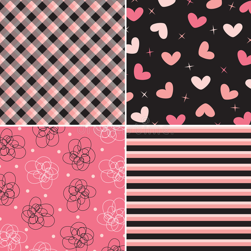 wzór różowy czarne combo ilustracji
