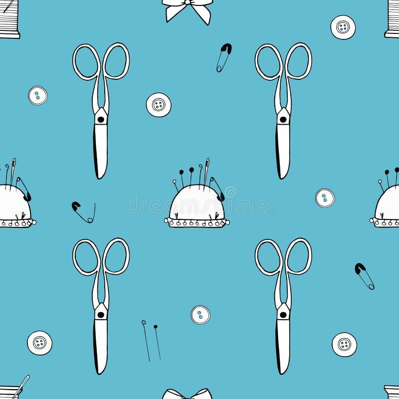 Wzór robić nożyce, igły, szpilki, nici, mouline i pincushion, royalty ilustracja
