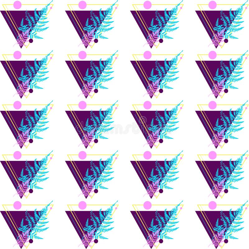 Wzór robić trójboki i paproć obraz royalty free