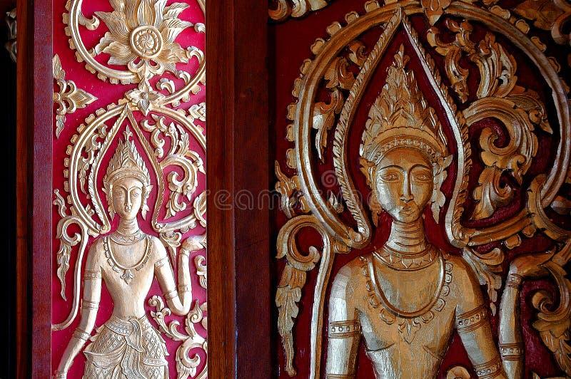 Wzór rzeźbiący drzwiowego ślubowania Artystyczny piękno Laos obrazy royalty free