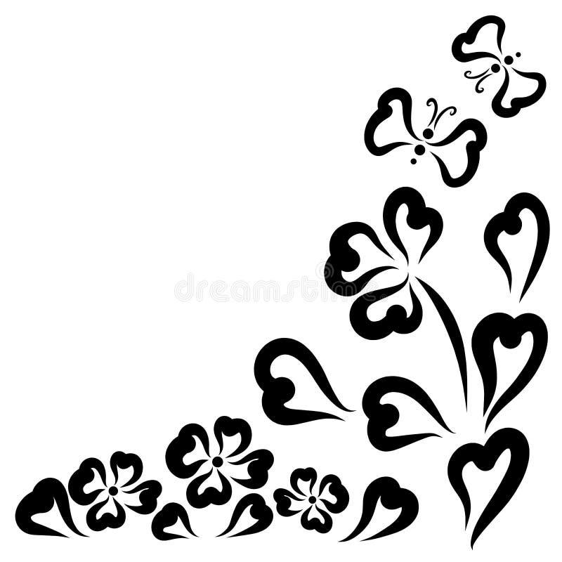 Wzór serca, kwiaty i para latający motyle, ilustracji
