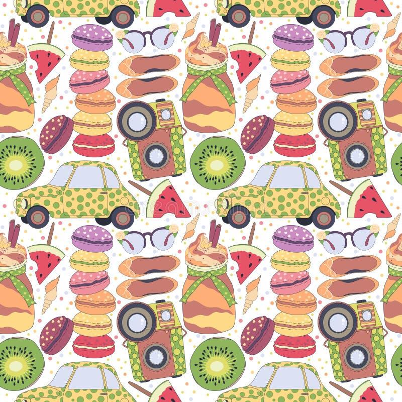 Wzór, set różna podróż doodles elementy, rzeczy macaroons, urlopowych wakacje, romantycznych i lata, samochód, owoc, kamera ilustracja wektor