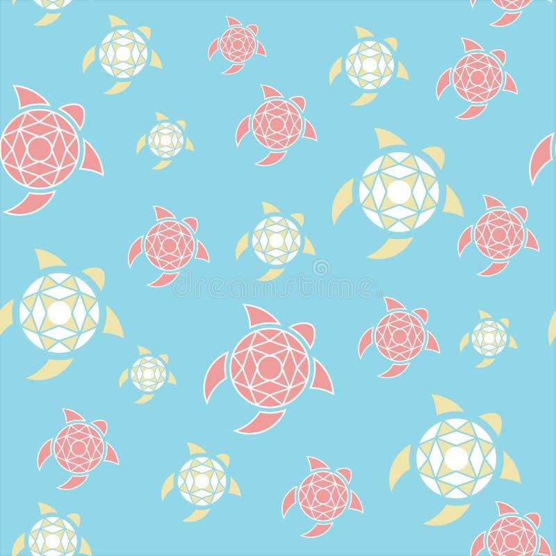 Wzór stylizowani żółwie Kolory morze i plaża Błękit, kolor żółty, koral ilustracja wektor