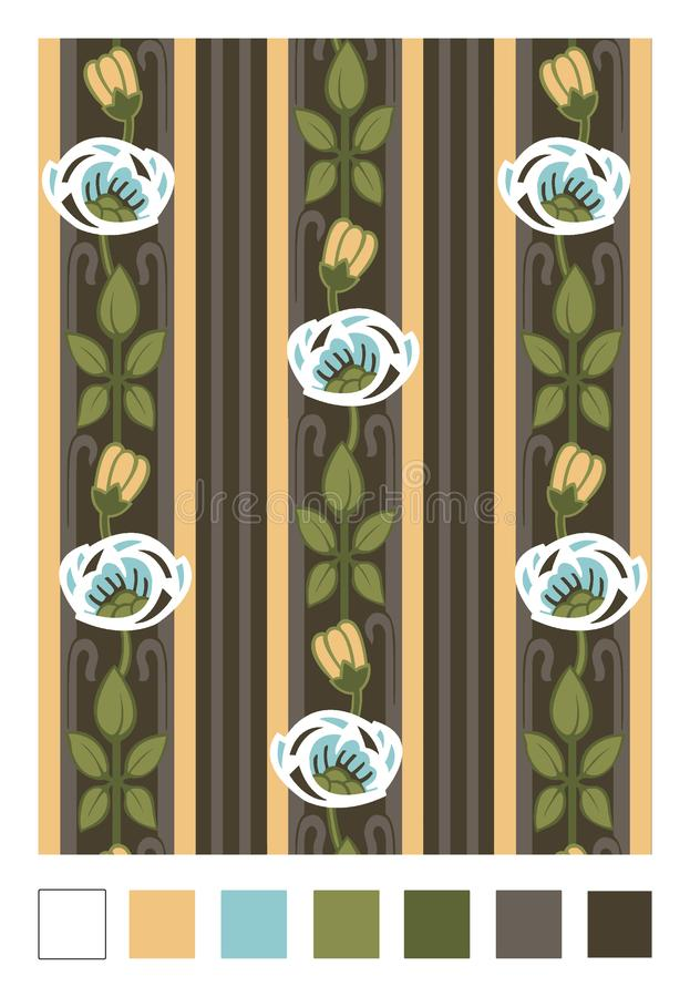 Wzór stylizowani różani biodra i lampasy Pionowo wielostrzałowy kwiecisty ornament w sztuki nouveau stylu ilustracji