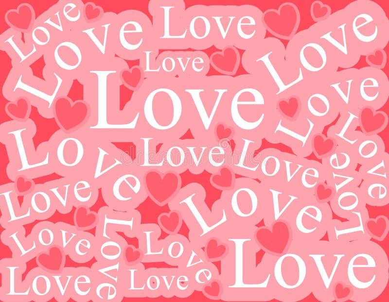 wzór tła słowa miłości royalty ilustracja