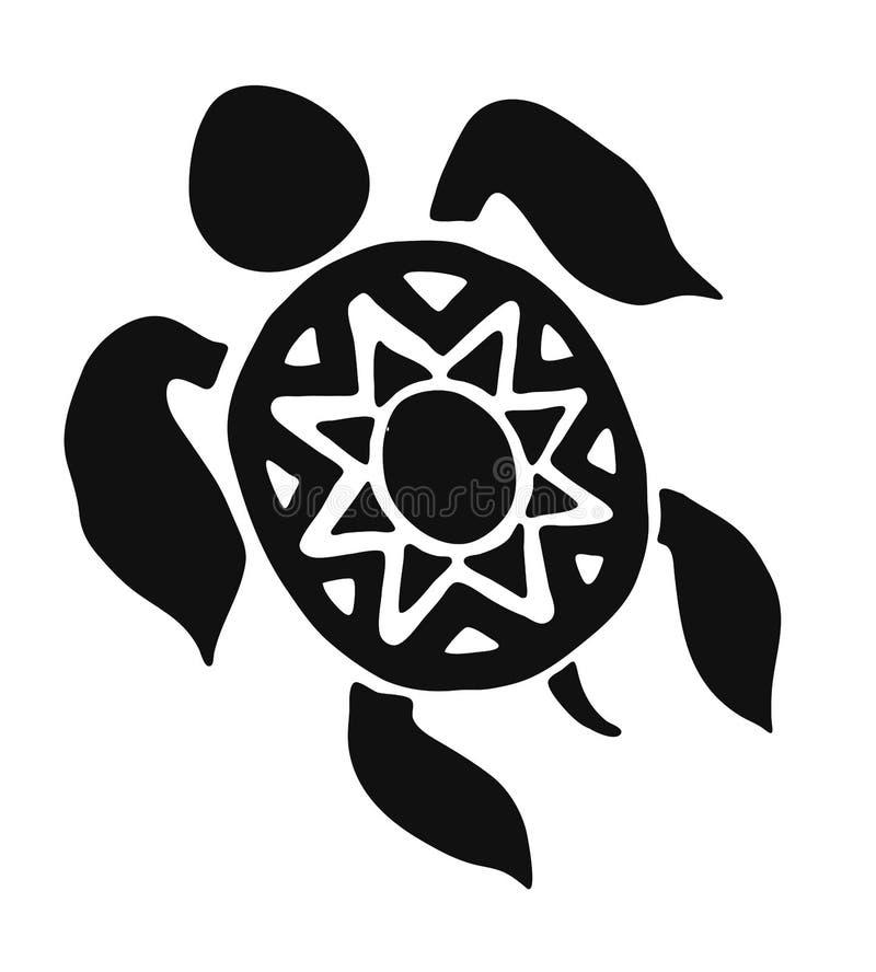 Wzór tatuażu na żółwie czarne narysowany ręcznie w języku maori lub plemiennym na białym tle ilustracja wektor