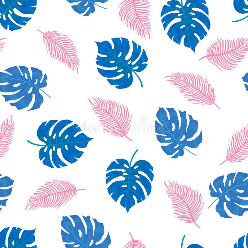Wzór tropikalni liście w błękicie i menchiach ilustracji
