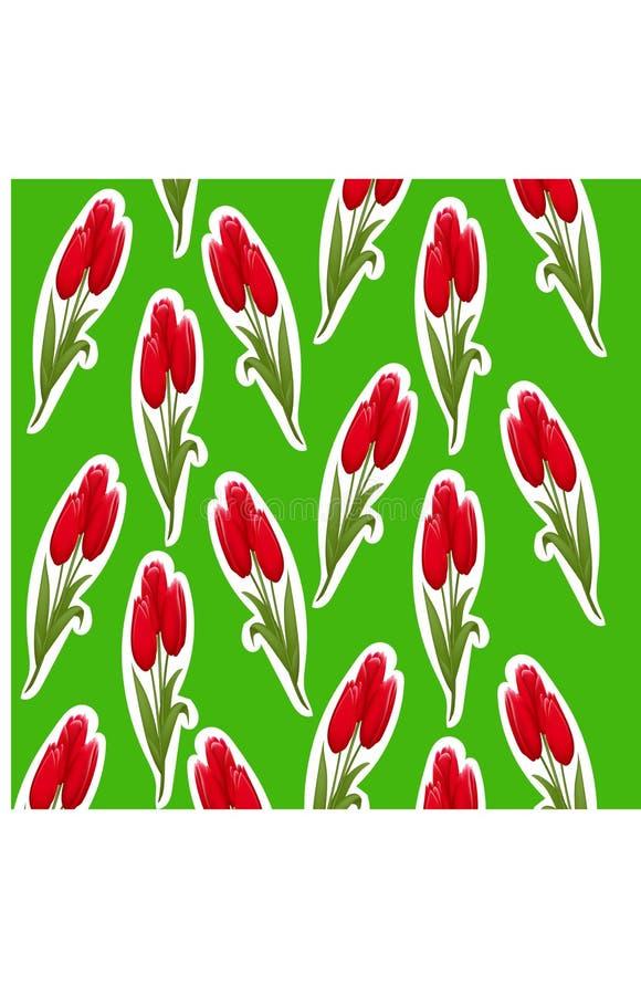 Wzór tulipanu majcher na zielonym tle ilustracja wektor