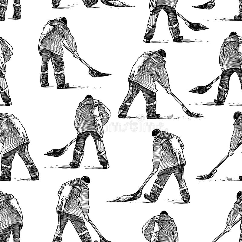 Wzór uliczni czyściciele przy pracą ilustracja wektor