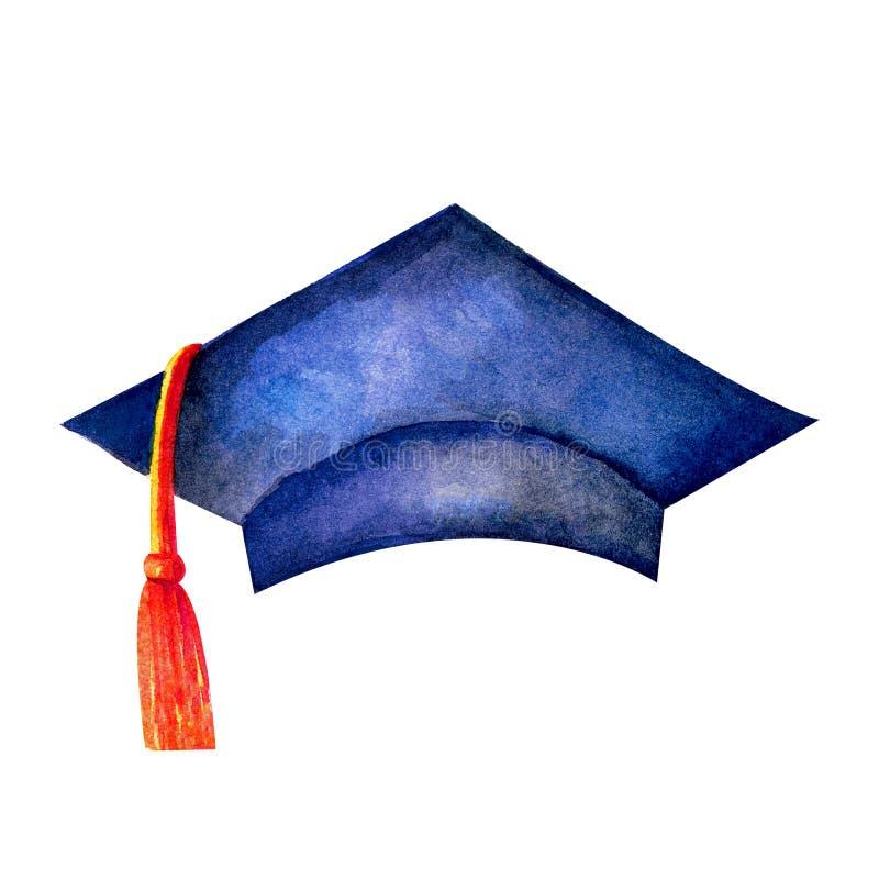 Wzór w kolorze wodnym na uroczystej ceremonii wręczenia dyplomów akademickich. Kapelusz z czarnym atramentem wyizolowany na ilustracja wektor