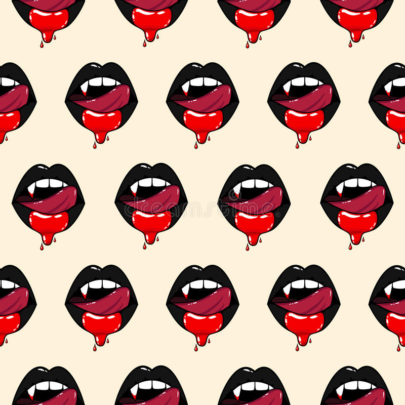 Wzór wampir kobiety usta royalty ilustracja