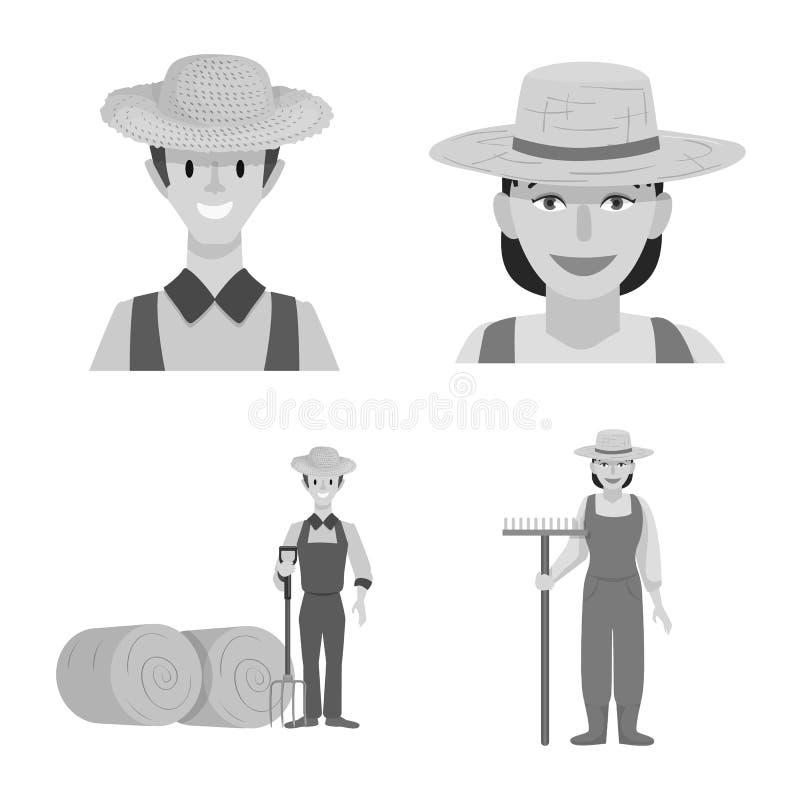 Wzór wektorowy gospodarstwa i symbol orny Zbiór symbolu inwentarza rolnego i rolnego dla sieci ilustracji