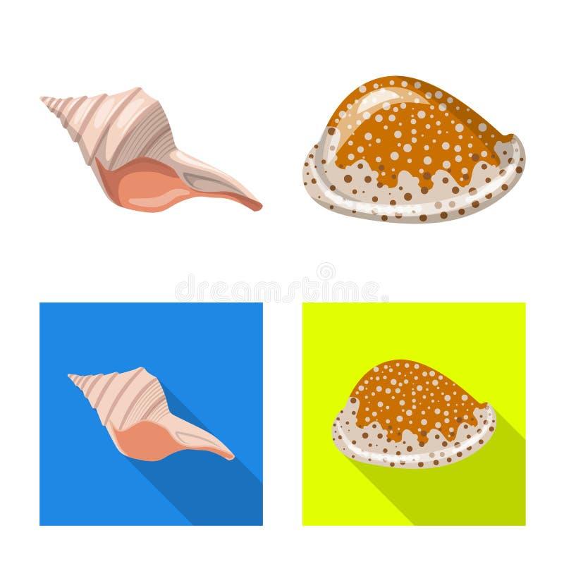 Wzór wektorowy zwierzęcia i symbolu dekoracyjnego Zestaw ikon wektora zwierzęcego i oceanicznego dla zasobu ilustracja wektor