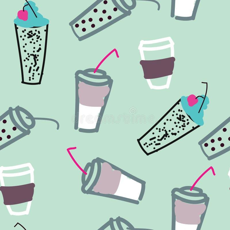 Wz?r wiele szk?o juse, coffe, tr?jnik i inny, pije Jaskrawy doodle t?o ilustracja wektor