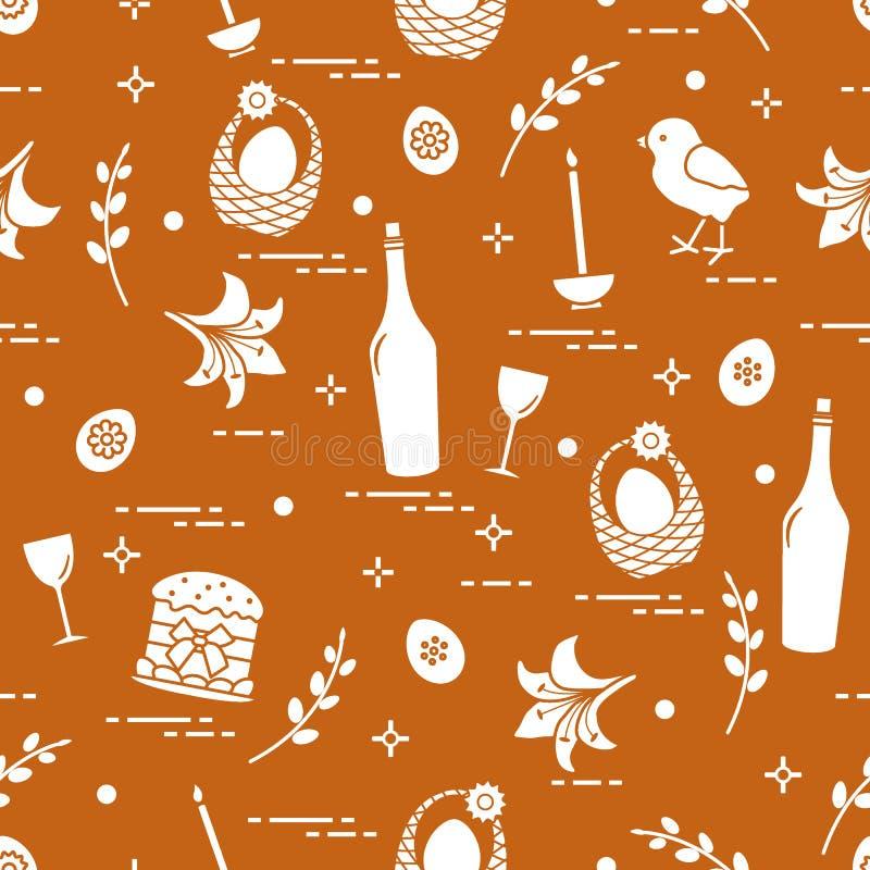 Wzór Wielkanocni symbole: Wielkanocy tort, kurczątko, leluja, kosze, jajka i inny, ilustracja wektor