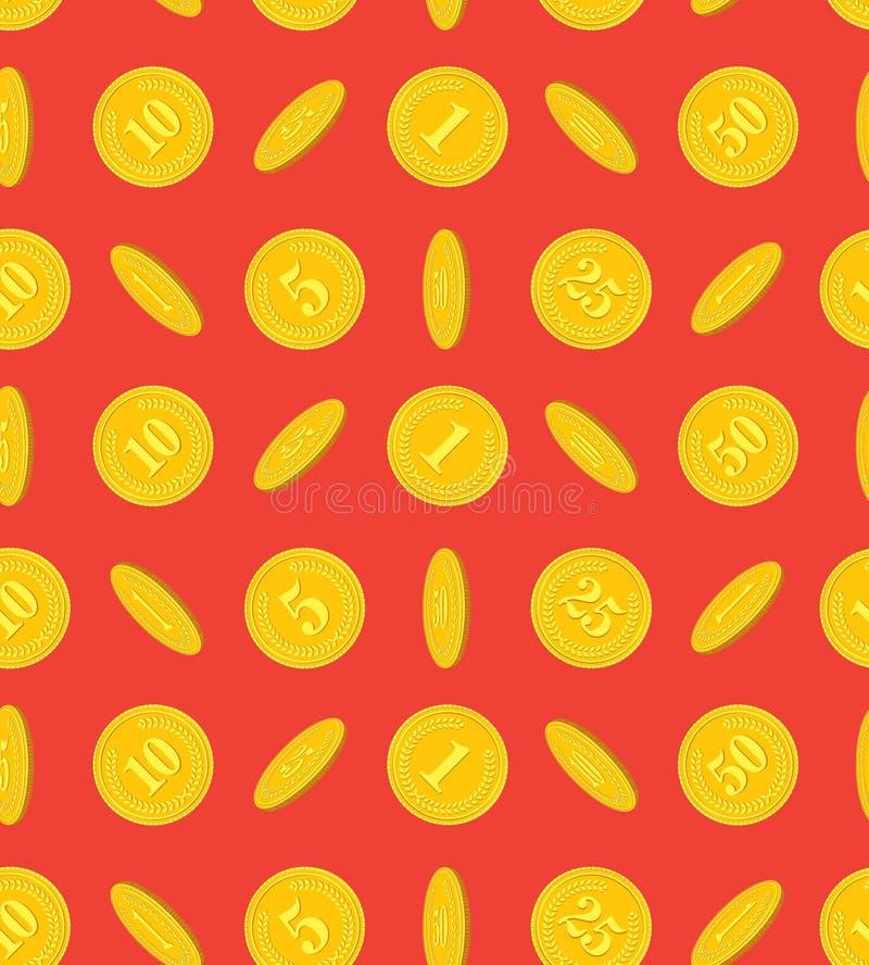 Wzór złociste monety na czerwonym tle obraz stock