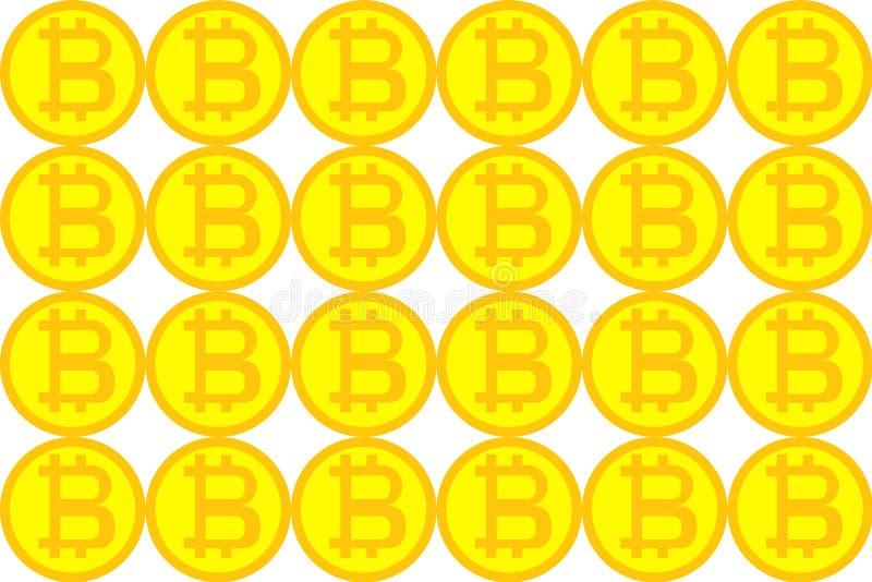 Wzór złoty kolor żółty ukuwa nazwę bitcoin, technologii blockchein pojęcie crypto waluta ilustracji