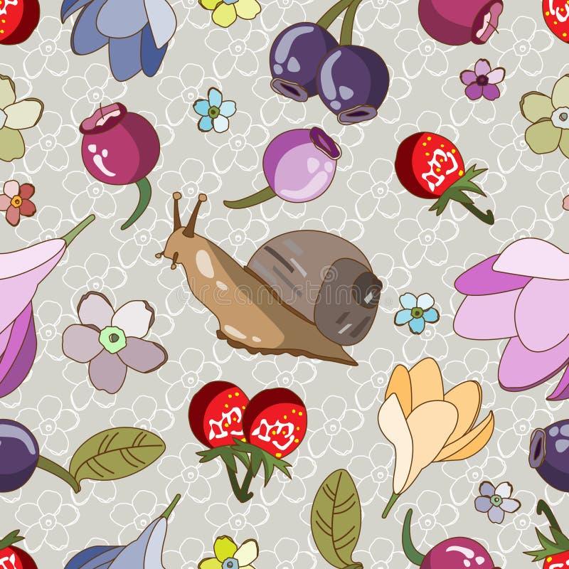 Wzór z ślimaczkiem, jagodami i kwiatami, ilustracja wektor