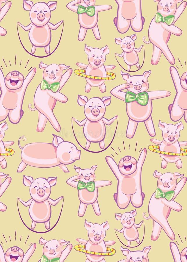 Wzór z ŚMIESZNYMI świniami Set świnie angażować w sportach ilustracji