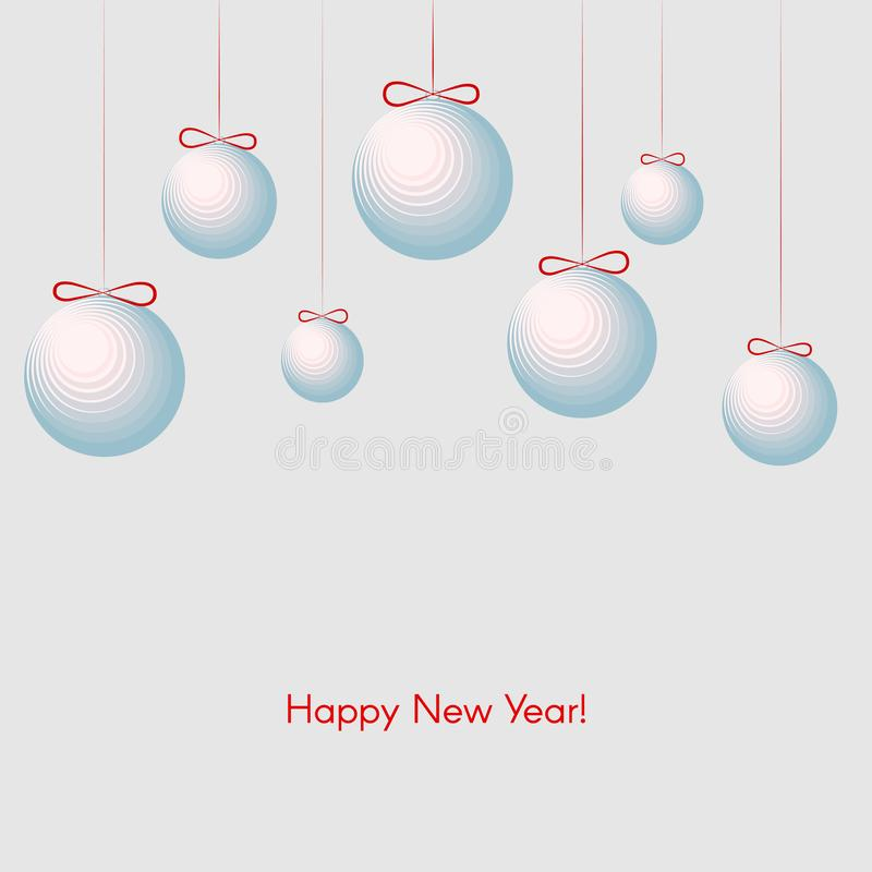 Wzór z świątecznymi piłkami z teksta nowego roku zimy Szczęśliwym tłem dla nowego roku i bożych narodzeń ilustracji