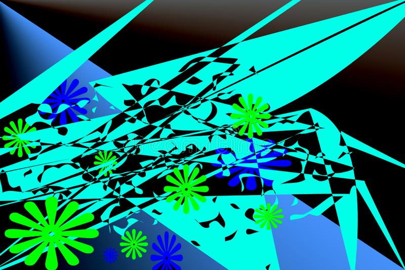 Wzór z abstrakcjonistycznymi elementami turkus, zieleń, błękit barwi ilustracja wektor