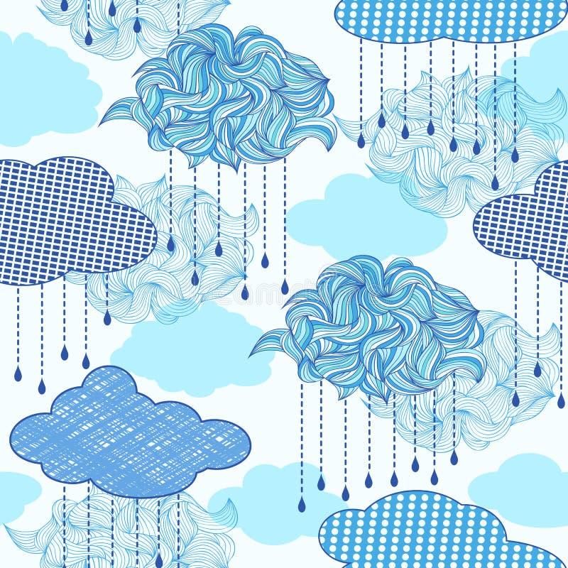 Wzór z abstraktów raindrops i chmurami ilustracji