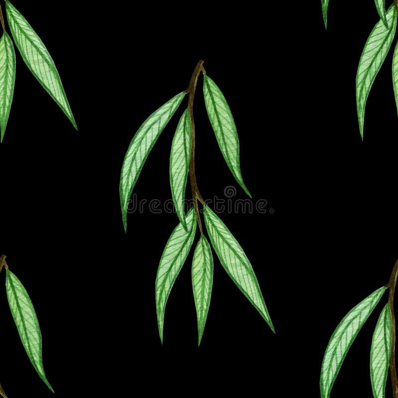 Wzór z akwarela liśćmi ilustracji