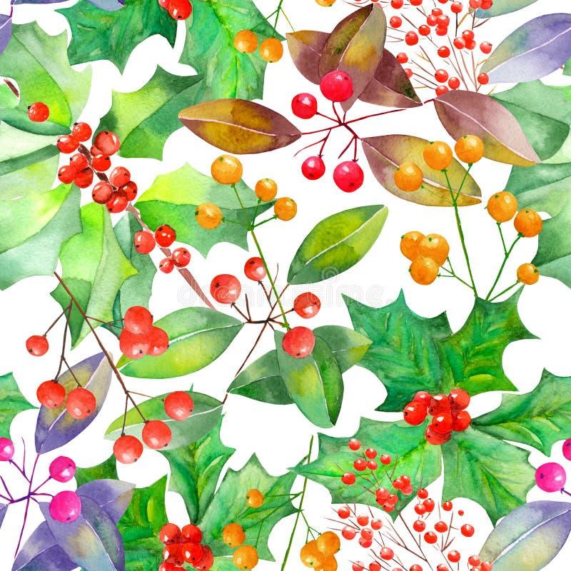 Wzór z akwareli gałąź z i jagodami czerwonymi, pomarańczowymi i zieleń liśćmi ilustracja wektor